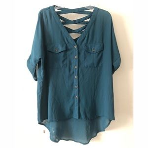 Button Down Blouse with Cut Out Detail Back